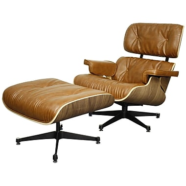 New Pacific Direct Grayson Lounge Chair and Ottoman; Distressed Caramel