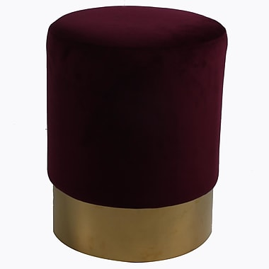 New Pacific Direct Oliver Round Ottoman; Claret / Gold