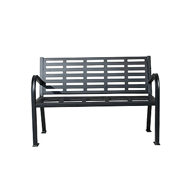 Paris Site Furnishings – Banc de qualité commerciale en acier Lasting Impressions, 4 pi, noir (460-225-0006)