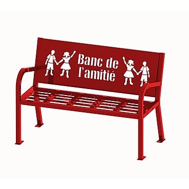 Banc de l'amitié Lasting Impressions de Paris Site Furnishings, 4 pi, français, rouge (450-344-0010)
