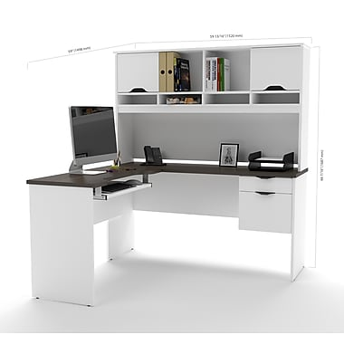 Bestar Innova L-Shaped Desk, White and Antigua (92420-52)