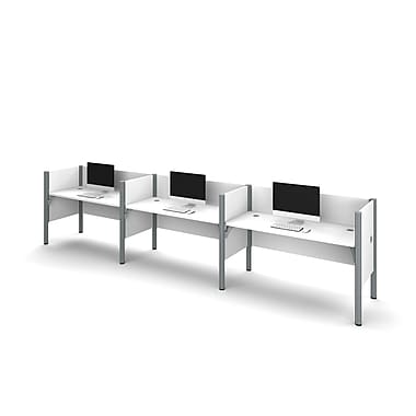 Bestar Pro-Biz Triple Side-by-side Workstation, White (100872C-17)