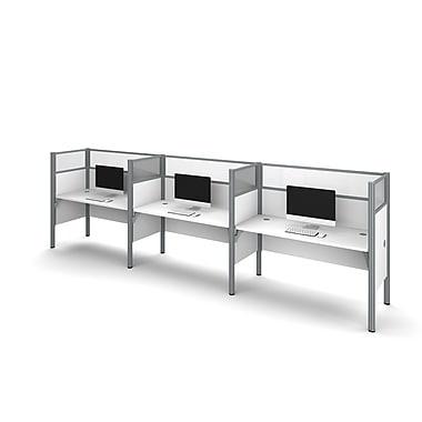 Bestar Pro-Biz Triple Side-by-side Workstation, White (100872D-17)