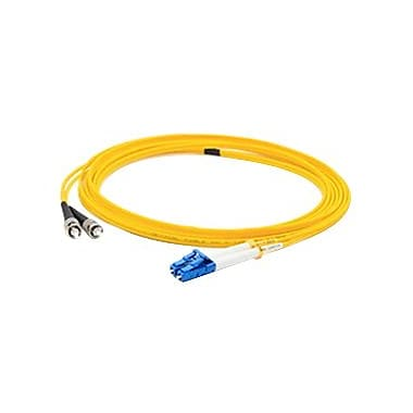 AddOn® 9.8' OS1 Single-Mode Fiber Duplex ST to LC Male/Male Patch Cable, Yellow