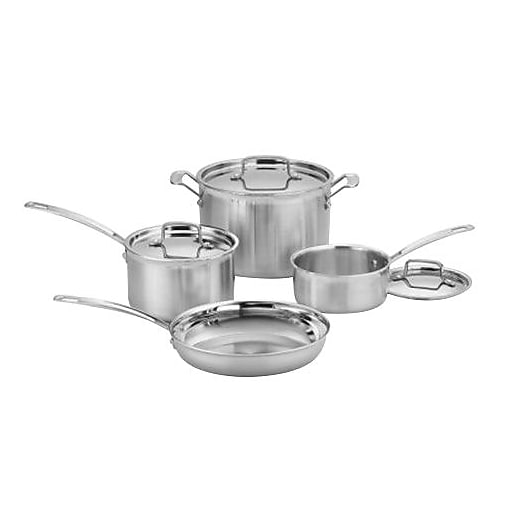 Cuisinart Multiclad Pro Triple Ply Stainless Steel 7 Piece Cookware Set Silver Mcp 7n