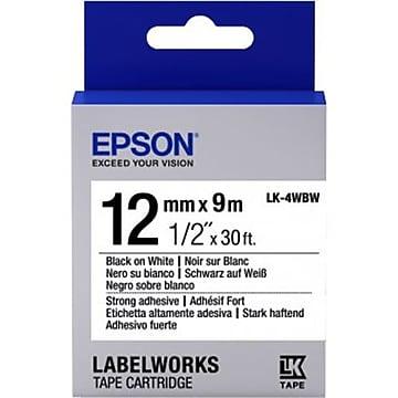 "Epson LabelWorks LK-4WBW Label Maker Tape, 1/2""W, Black on White"