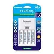 Panasonic® AA Nickel Metal Hydride Rechargeable Battery with Individual Battery Charger, 2000 mAh, 4/Pack (K-KJ17MCA4BA)
