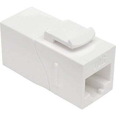 Tripp Lite® N235-001-WH-6AD Cat6a Straight-Through Modular In-Line Snap-In Coupler w/90-Degree Down-Angled Port (12221894)