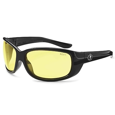 Skullerz ERDA Safety Glasses, Yellow Lens, Black (58050)