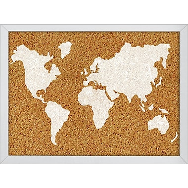 WallPops The World Printed Cork Board 17 x 23.5 x 1 White & Off-White (HB2164)