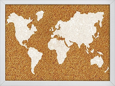 WallPops The World Printed Cork Board 17 x 23.5 x 1 White & Off-White (HB2164)