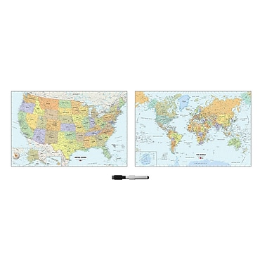 WallPops US and World Map Decal Set 24 x 35 Multi-Color (WP2192)