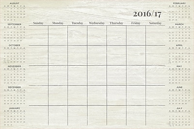 WallPops Weathered Academic Calendar 2016-17 36 x 24 Grey (WPE1885)
