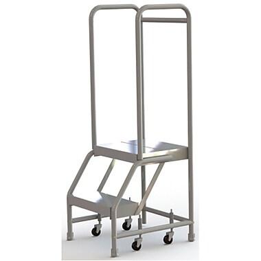 Tri-Arc Manufacturing – Échelle roulante en aluminium, larg. de marche de 16 po, marche de type strié, 2 marches (WLAR102164)