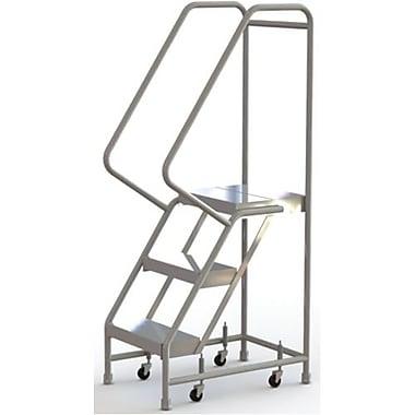 Tri-Arc Manufacturing – Échelle roulante en aluminium, larg. de marche de 16 po, marche de type strié, 3 marches (WLAR103164)