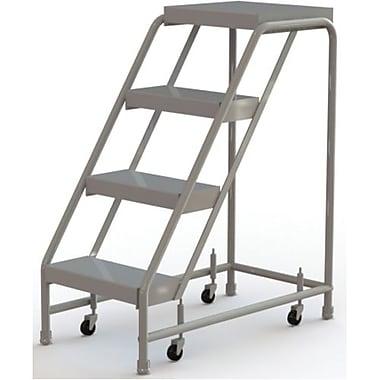 Tri-Arc Manufacturing – Échelle roulante en aluminium, larg. de marche de 16 po, marche de type strié, 4 marches (WLAR004164)