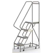 "Tri-Arc Manufacturing Aluminum Rolling Ladder, Step Width: 16"", Step Type: Ribbed, No. of Steps: 4 (WLAR104164)"