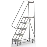 "Tri-Arc Manufacturing Aluminum Rolling Ladder, Step Width: 16"", Step Type: Ribbed, No. of Steps: 5 (WLAR105164)"