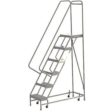 Tri-Arc Manufacturing – Échelle roulante en aluminium, larg. de marche de 16 po, marche de type strié, 6 marches (WLAR106164)