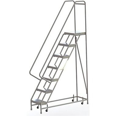 Tri-Arc Manufacturing – Échelle roulante en aluminium, larg. de marche de 16 po, marche de type strié, 7 marches (WLAR107164)
