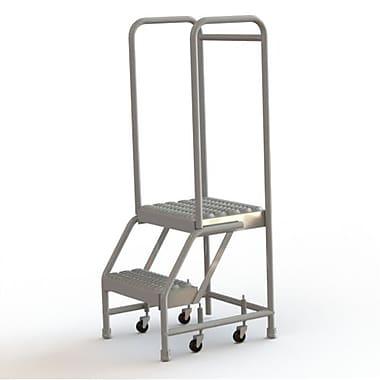 Tri-Arc Manufacturing – Échelle roulante en aluminium, larg. de marche de 16 po, marche de type dentelé, 2 marches (WLAR102165)