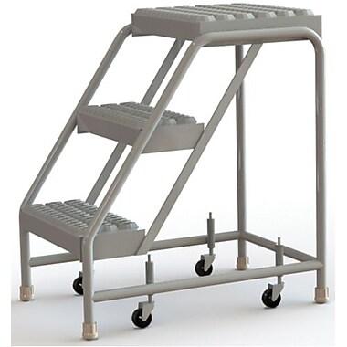 Tri-Arc Manufacturing – Échelle roulante en aluminium, larg. de marche de 16 po, marche de type dentelé, 3 marches (WLAR003165)