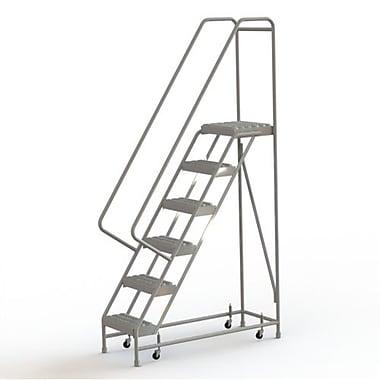 Tri-Arc Manufacturing – Échelle roulante en aluminium, larg. de marche de 16 po, marche de type dentelé, 6 marches (WLAR106165)