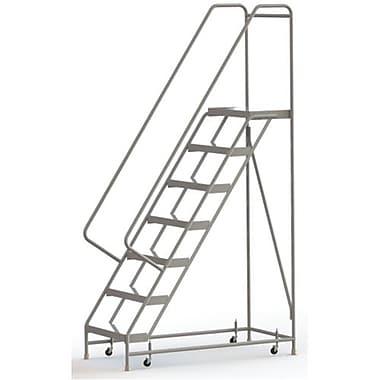 Tri-Arc Manufacturing – Échelle roulante en aluminium, larg. de marche de 24 po, marche de type strié, 7 marches (WLAR107244)
