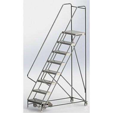 Tri-Arc Manufacturing – Échelle roulante en aluminium, larg. de marche de 24 po, marche de type strié, 8 marches (WLAR108244)
