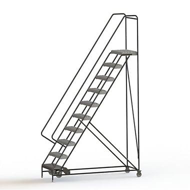 Tri-Arc Manufacturing – Échelle roulante en aluminium, larg. de marche de 24 po, marche de type dentelé, 10 marches (WLAR110245)