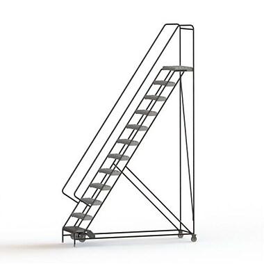 Tri-Arc Manufacturing – Échelle roulante en aluminium, larg. de marche de 24 po, marche de type dentelé, 12 marches (WLAR112245)