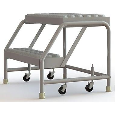 Tri-Arc Manufacturing – Échelle roulante en aluminium, larg. de marche de 24 po, marche de type dentelé, 2 marches (WLAR002245)