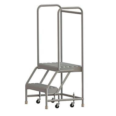 Tri-Arc Manufacturing – Échelle roulante en aluminium, larg. de marche de 24 po, marche de type dentelé, 2 marche (WLAR102245)