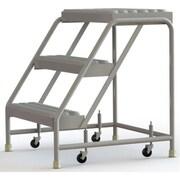 Tri-Arc Manufacturing – Échelle roulante en aluminium, larg. de marche de 24 po, marche de type dentelé, 3 marche (WLAR003245)