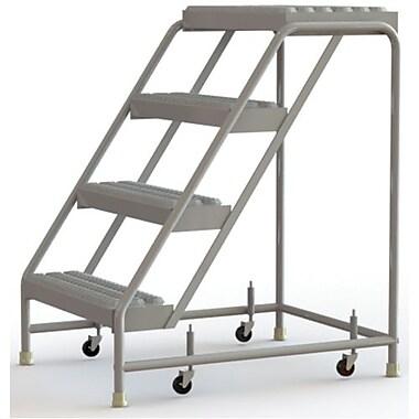 Tri-Arc Manufacturing – Échelle roulante en aluminium, larg. de marche de 24 po, marche de type dentelé, 4 marche (WLAR004245)