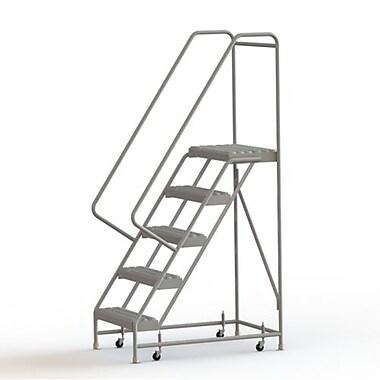 Tri-Arc Manufacturing – Échelle roulante en aluminium, larg. de marche de 24 po, marche de type dentelé, 5 marches (WLAR105245)