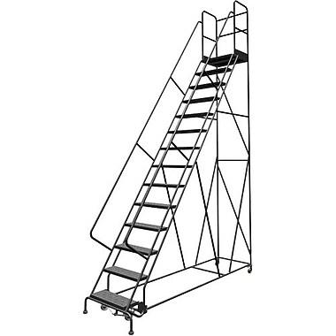 Tri-Arc Manufacturing – Escabeau roulant avec marche; hauteur : 140 po, marches : 14, largeur : 24 po (KDSR114246-D2)