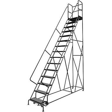 Tri-Arc Manufacturing – Escabeau roulant avec marche; hauteur : 150 po, marches : 15, largeur : 24 po (KDSR115246-D2)