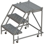 "Tri-Arc Manufacturing Deep Top Step Rolling Ladder, Platform Height: 30"", No. of Steps: 3, Step Width: 16"" (KDSR003166-D2)"
