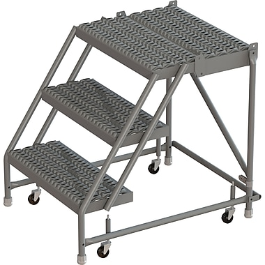 Tri-Arc Manufacturing Deep Top Step Rolling Ladder, Platform Height: 30