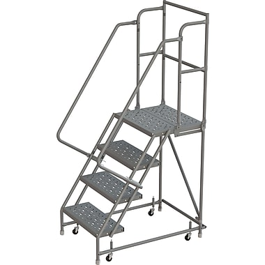 Tri-Arc Manufacturing Deep Top Step Rolling Ladder, Platform Height: 40
