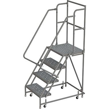 Tri-Arc Manufacturing – Escabeau roulant avec marche supérieure profonde; 40 po haut.; 4 marches; 16 po larg. (KDSR104166-D2)