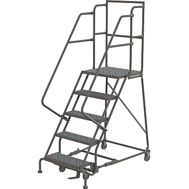 Tri-Arc Manufacturing – Escabeau roulant avec marche supérieure profonde; 50 po haut.; 5 marches; 16 po larg. (KDSR105166-D2)