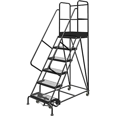 Tri-Arc Manufacturing Deep Top Step Rolling Ladder, Platform Height: 60