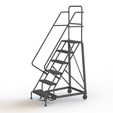 Tri-Arc Manufacturing – Escabeau roulant très robuste, hauteur : 60 po, marche perforée, profondeur : 50 po (KDHD106246)