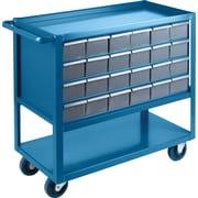 Kleton – Chariot de tablettes à tiroirs, Matériau du chariot : Acier; Capacité : 1200 lb, Nombre de tiroirs : 24