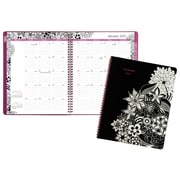 "2017 AT-A-GLANCE® FloraDoodle Premium Monthly Planner, 13 Months, 8 1/2"" x 11"", Black/White (589-900-17)"