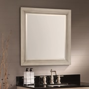 Hazelwood Home Ulrich Square Wood Bathroom Mirror; Antique White