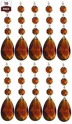 10 Pack Chandelier Replacement Crystal Prism Tear Drop Almond Three Bead Amber (Set of 10)