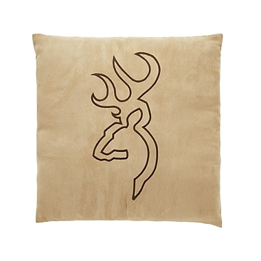 Browning Buckmark Embroidered Throw Pillow; Beige